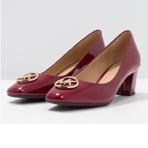 Michael Kors Dena Pumps Patent Leather Maroon Red